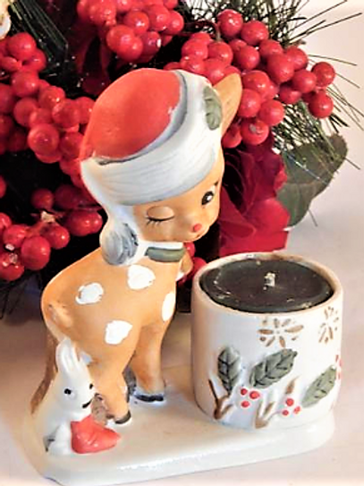 Reindeer Figurine Votive Candle Holder Vintage 1978 Jasco Collectible Hand Painted Porcelain Bisque Christmas Decoration