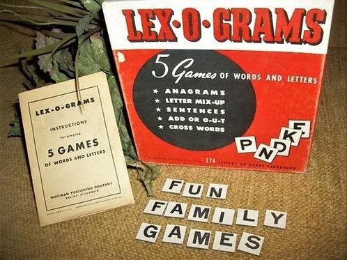 Vintage 1940s, Word Game, Lex O Grams, Language Game, Educational Game, Family Game Night, Retro Game box, letter tiles, cros