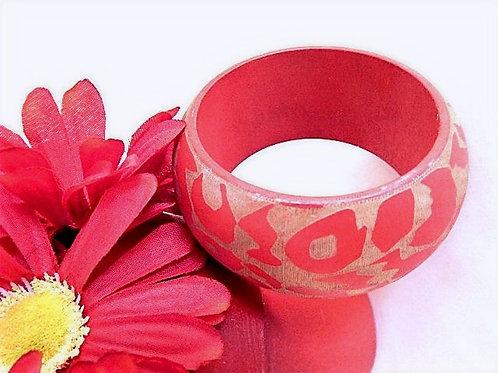 Wooden bangle bracelet Jungle animal, zebra print wood Beige and orange jewelry Lightly raised texture