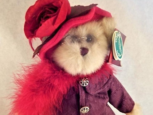 "Bear Stuffed Plush Animal Bear Red and Purple Attire Rose Hat Tea Party Luncheon Decoration 14"" Bearington Queen Fedora"