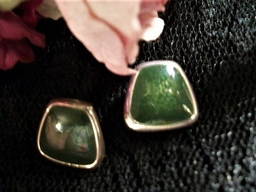 "Pretty Silver Tone and Green Picture Frame Earrings Post Earrings with Bullet Barrel Backs 1/2"" x 1/2"" Trapezoid Shape Shiny"