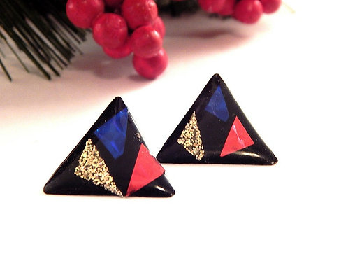 "Black acrylic triangle earrings Handcrafted vintage 1980s Friendly Plastic Glittery gold red  blue prism accents 1"" triangles"