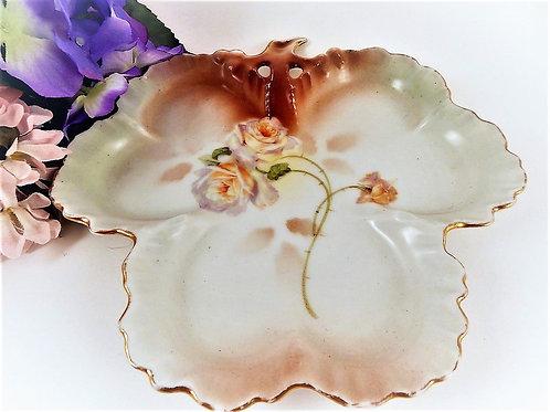 Antique 1910s Porcelain Plate Clover Leaf TrayBeyer &  Bock Prussia