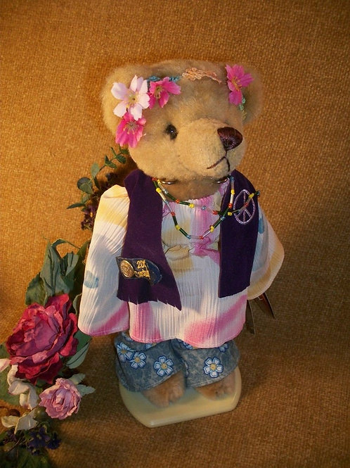 Bear Plush Stuffed Animal 1960s Summer of Love Hippie Flower Child Named Ivy Brass Bear Collectible Vintage 1999