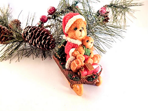 Santa Teddy Bears Sledding Figurine Heavy Resin Hand Painted Vintage Holiday Home Decor