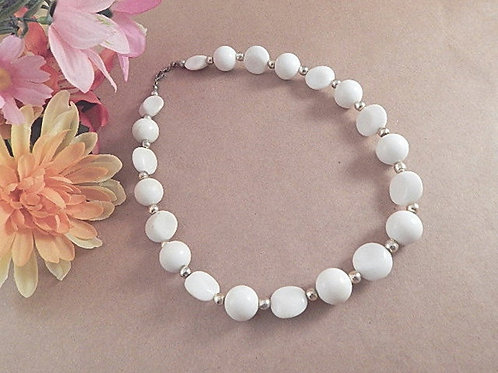 Beaded Necklace 18 Inch Round and Disc White and Silver Bead Strand Retro Mod Vintage Costume Jewelry