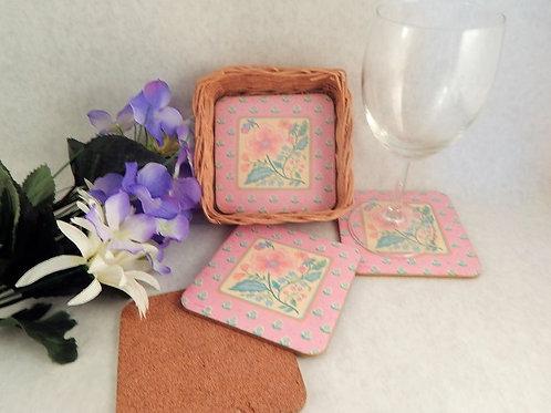 "Coasters Set of Four 4"" Square Mattes in Wicker Basket Vintage Floral Kitchen Dining Home Bar Beverage Serving Entertaining T"
