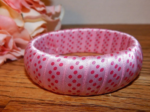 "Bangle bracelet - Fabric ribbon wrapped bangle Pink with darker pink polka dots jewelry 2 5/8"" diameter opening 15/16"" wide"