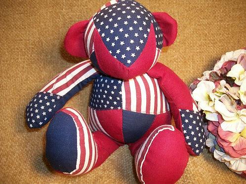 Americana Bear Stuffed Animal Terrys Village Patriotic USA Vintage Home Decor