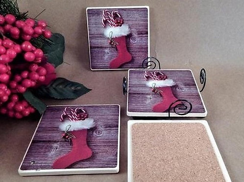 Coasters 4 Tile Cork Caddy Trivets Red Christmas Stocking Holiday Barware