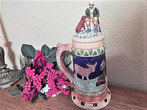Beer Stein Ceramic MugGermanWoodland Scene Hand Painted Decorative Barware Collectible Vintage Home Decor