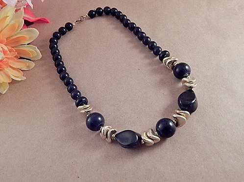 Beautiful black and gold beaded necklace Round, teardrop and saucer acrylic beads Smooth and shiny black and gold beads 14mm