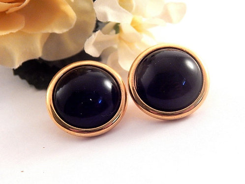 Blue Dome Disc Earrings Round Gold Metal Frames Vintage 1980s Fashion Jewelry Classic Button Earrings for Pierced Ears