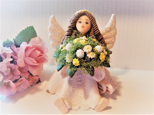 vintage, handcrafted, polymer clay, angel, woman angel, brunette angel, angel girl, figurine, sister gift, best friend gift,