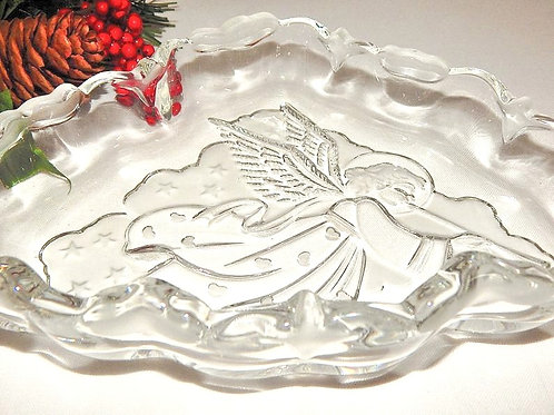 Angel Candy Dish Clear and Frosted Glass Tray Triangle Embossed Serving Dish Christmas Tableware Vintage Home Decor