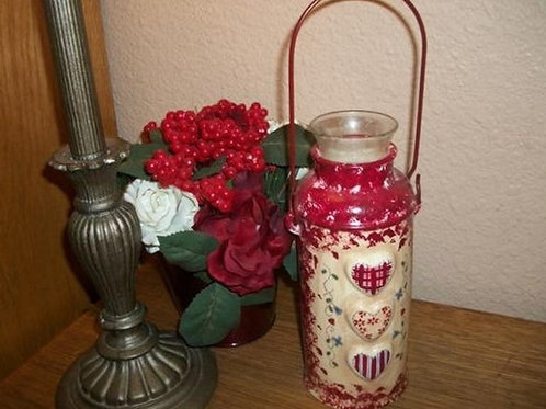 Candle Holder Vase Decanter Ceramic Hand Painted Vintage Home Decor Red Beige Hearts Flowers Metal Handle Votive Candle Cup