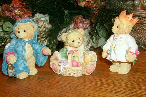 avintageaddiction, vintage home decor, christmas collectible, figurine, bear, cherished teddies, enesco, priscilla hillman, D