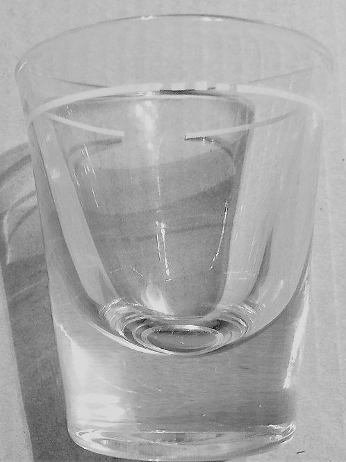 Vintage Libbey Shot Glass made in  the USA Trademark script  'L'  on the bottom appears backward to left-to-right readers but
