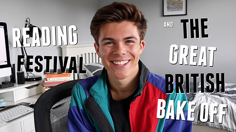 UK male lifestyle and student blogger / vlogger Jack Edwards presents his tales from Reading Festival in which he (almost) saves someone's life. He also discusses The Great British Bake Off and his love for Mary Berry. Youtube video 2016. Reading and Leeds.