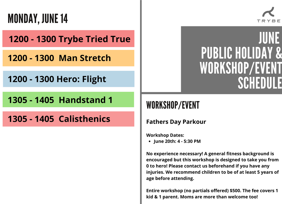 Trybe June Public Holiday & Events Sched