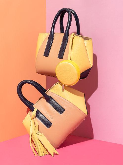 Bolsa Lala Petit em couro amarela