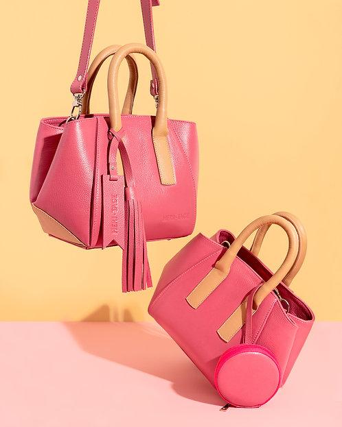 Bolsa Lala Petit em couro rosa