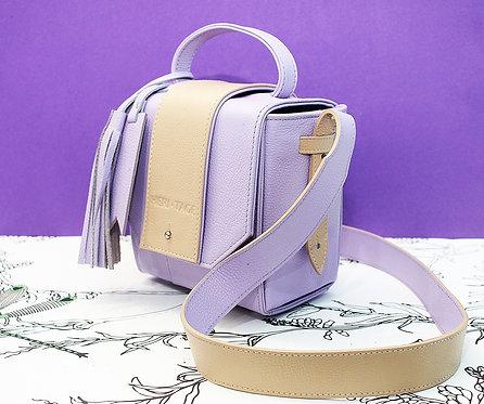 Bolsa Briela lilás em couro
