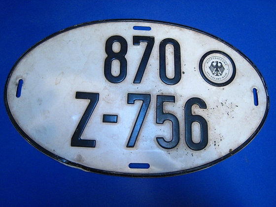 GERMAN AUTOMOBILE LICENSE PLATE: OVAL