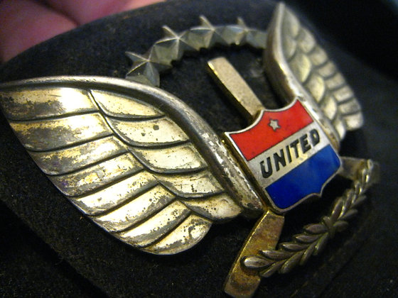 United Airlines STERLING SILVER Hat Piece