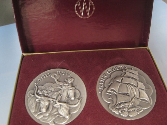 2+ Troy Oz. STERLING Silver Coins OLD WEST CATTLE DRIVE