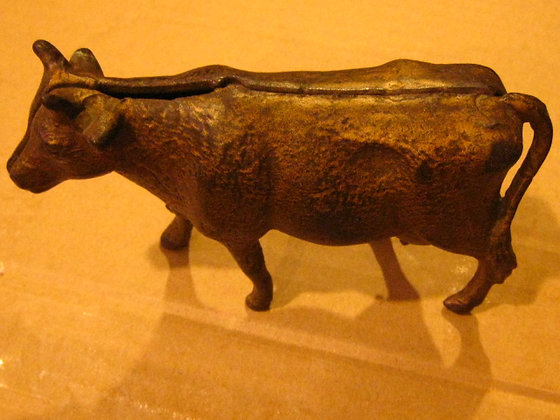 Early 1900's CAST IRON COIN BANK - Cow - A.C. WILL