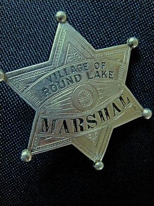 Marshal's Badge VILLAGE OF ROUND LAKE Illinois 6 POINT STAR