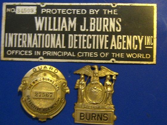 Badge Set WILLIAM J.BURNS INTERNATIONA DETECTIVE L