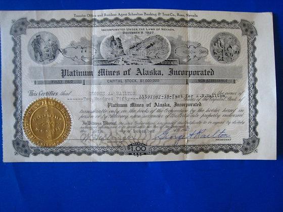 Mining Stock Certificate PLATINUM MINES OF ALASKA