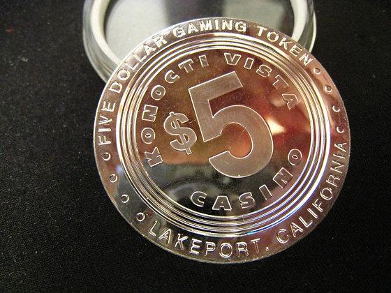 .999 Pure Silver Casino Token $5 KONOCTI VISTA