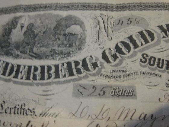 GOLD MINING STOCK CERTIFICATE ELDORADO COUNTY CA