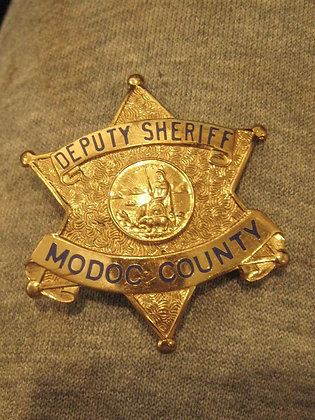 VINTAGE Law Badge MODOC COUNTY California DEPUTY SHERIFF Eureka State Seal