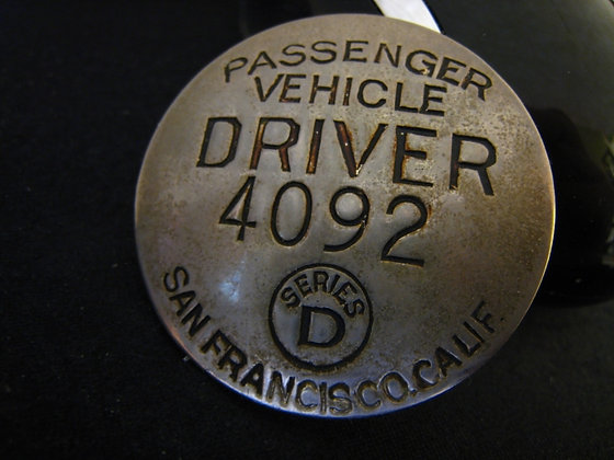 Antique Badge -PASSENGER VEHICLE DRIVER SF, CA
