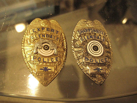 STERLING Police Badge GLENDALE CALIFORNIA  Sharpshooter + EXPERT
