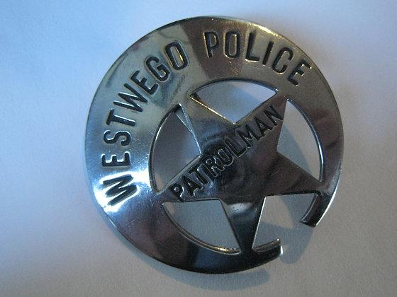 VINTAGE Police Patrolman Badge CRESCENT MOON City of Westwego LOUISIANA POLICE
