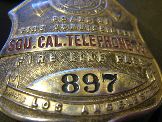 Badge FIRE LINE PASS City of Los Angeles, CA Sterling Silver