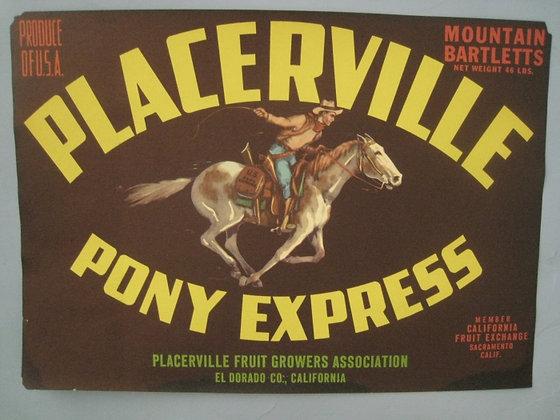 Vintage Label PLACERVILLE PONY EXPRESS Pear Fruit