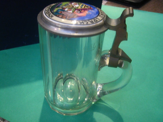 GERMAN 1920's PORCELAIN Glass BEER STEIN Richard Lauterbach
