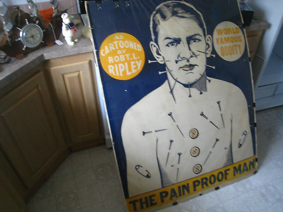 Vintage Poster Art THE PAIN PROOF MAN Needles in Body