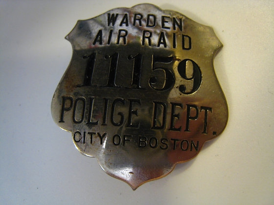 Police Badge AIR RAID WARDEN City Of Boston POLICE