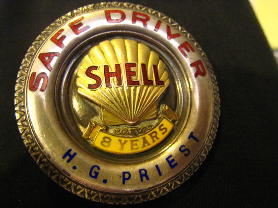 Sterling Silver Badge SHELL OIL Gasoline  COMPANY