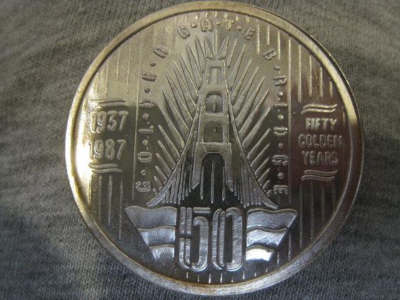 .999 Silver 1 Troy Oz. GOLDEN GATE BRIDGE 50th Ann