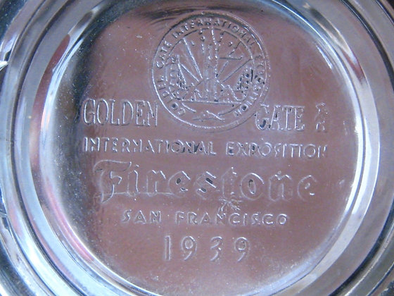 1939 GOLDEN GATE EXPO TIRE ASHTRAY Firestone Tire Company