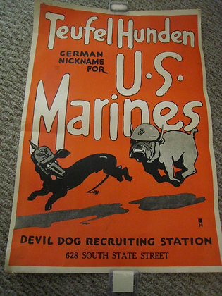 WORLD WAR I POSTER - UNITED STATES MARINES Bulldog