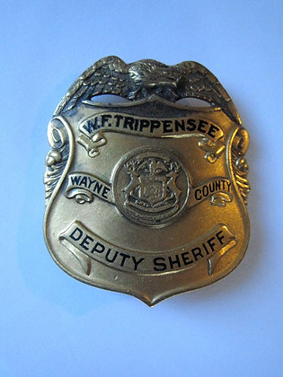 Gold Tone VINTAGE Badge  DEPUTY SHERIFF Wayne County Michagan MAKER MARK